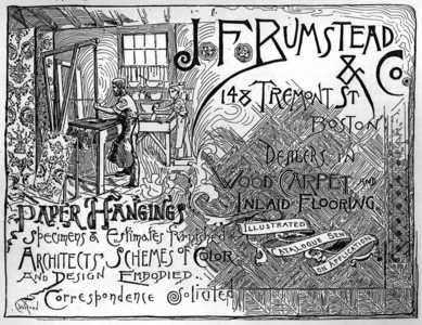 Advertisement for J.F. Bumstead & Co., dealers in wood carpet and inlaid flooring, paper hangings, 148 Tremont Street, Boston, Mass., undated
