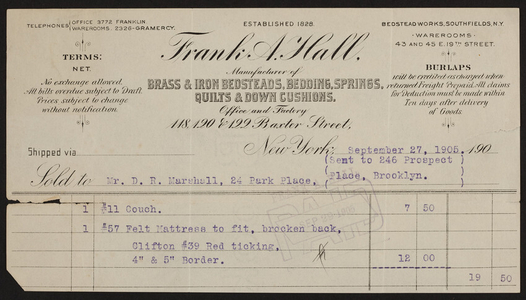 Billhead for Frank A. Hall, brass & iron bedsteads, bedding, springs, quilts & down cushions, 118, 120 & 122 Baxter Street, New York, New York, dated September 27, 1905