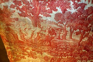 """Copperplate-printed textile fragment """"The Dance"""" and """"The Departure"""""""