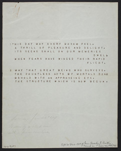 Typewriter sample, location unknown, dated January 24, 1827
