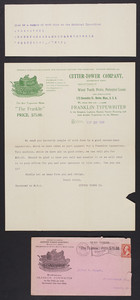 Letterhead for the Cutter-Tower Company, Franklin Typewriter, 173 Devonshire Street, Boston, Mass., dated September 29, 1900