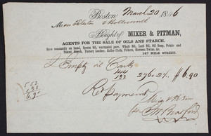 Billhead for Mixer & Pitman, agents for the sale of oils and starch, 147 Milk Street, Boston, Mass., dated March 20, 1846