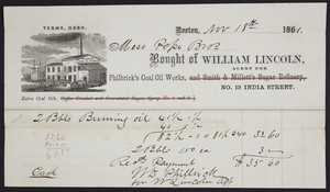 Billhead for William Lincoln, agent for Philbrick's Coal Oil Works, No. 13 India Street, Boston, Mass., dated November 18, 1861