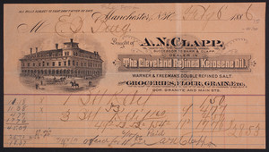 Billhead for A.N. Clapp, dealer in The Cleveland Refined Kerosene Oil, corner Granite and Main Streets, Manchester, New Hampshire, dated February 6, 1886