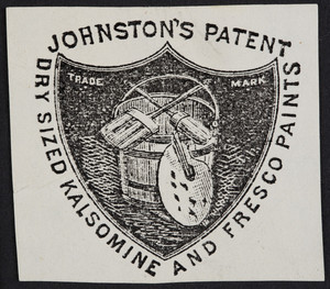 Label for Johnston's Patent Dry Sized Kalsomine and Fresco Paints, location unknown, undated
