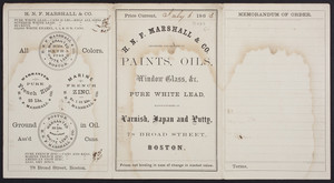 Price list for H.N.F. Marshall & Co., importers and dealers in paints, oils, window glass, 78 Broad Street, Boston, Mass., dated July 6, 1863