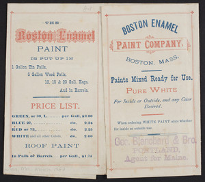 Brochure for the Boston Enamel Paint Company, Boston, Mass., undated
