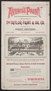 Color sample for Averill Paint, manufactured by The Taylor Paint & Oil Co., New York and Boston, undated
