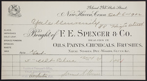 Billhead for F.E. Spencer & Co., dealer in oils, paints, chemicals, brushes, 241 and 243 State Street, New Haven, Connecticut, dated October 6, 1902