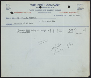 Billhead for The Peck Company, wholesale and retail dealers in paints, varnishes and builders' supplies, St. Johnsbury, Vermont, dated May 2, 1913