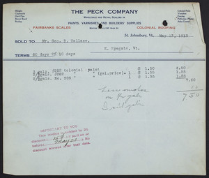 Billhead for The Peck Company, wholesale and retail dealers in paints, varnishes and builders' supplies, St. Johnsbury, Vermont, dated May 13, 1913