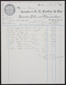 Billhead for A.L. Cutler & Co., manufacturers and jobbers of paints, oils and varnishes, 143 High Street, near Oliver, Boston, Mass., dated October 27, 1887