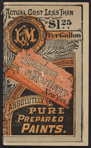 Memoranda, Longman & Martinez, absolutely pure prepared paints, New York, New York, undated