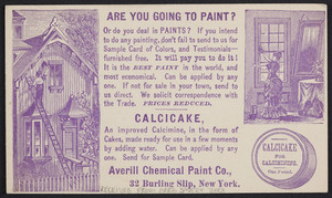 Postcard for Calcicake, Averill Chemical Paint Co., 32 Burling Slip, New York, New York, dated April 23, 1879