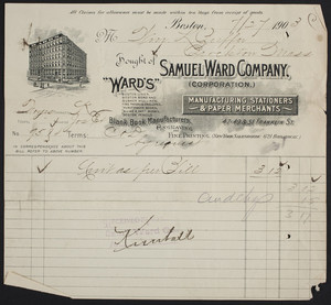 Billhead for the Samuel Ward Company, manufacturing stationers & paper merchants, 47-49 & 51 Franklin Street, Boston, Mass., dated July 27, 1903