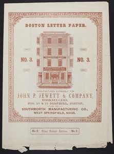 Wrapping paper for Boston Letter Paper, no. 3, manufactured by the Southworth Manufacturing Co., West Springfield, Mass., undated