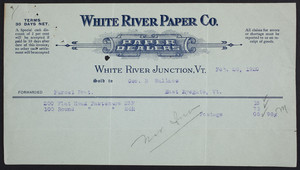 Billhead for the White River Paper Company, paper dealers, White River Junction, Vermont, dated February 26, 1920
