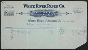 Billhead for the White River Paper Company, paper dealers, White River Junction, Vermont, dated May 10, 1920