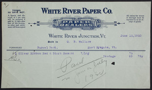 Billhead for the White River Paper Company, paper dealers, White River Junction, Vermont, dated June 12, 1920