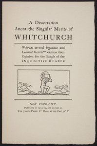 Dissertation anent the singular merits of Whitchurch, The Japan Paper Company Shop, 109 East 31st Street, New York, New York, 1933