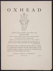 Oxhead, a mouldmade paper from Holland, toned laid antique, Japan Paper Company, Philadelphia, New York, Boston, undated