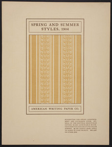 Herculean Covers, spring and summer styles, American Writing Paper Co., Holyoke, Mass., 1904