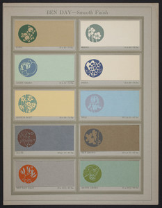 """Ben Day-Smooth Finish sample page from """"Some examples of the work of American designers,"""" Dill & Collins Company, Philadelphia, New York, Boston, 1918"""
