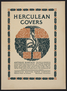 Herculean Covers Antique Surface, American Writing Paper Co., Manchester, Connecticut, undated