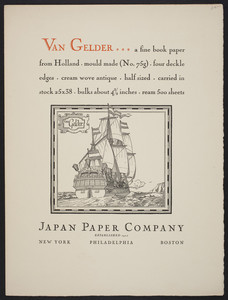 Van Gelder, a fine book paper from Holland, mould made No. 75g, Japan Paper Company, New York, Philadelphia, Boston, 1928