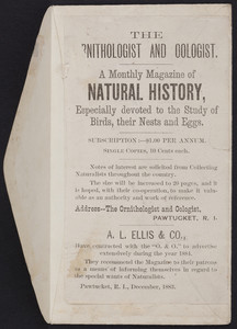 Advertisement for The ornithologist and oologist, a monthly magazine of natural history, A.L. Ellis & Co., Pawtucket, Rhode Island, December 1883