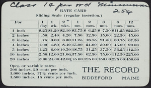 Trade card for The record, Biddeford, Maine, undated