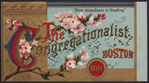 Trade card for The Congregationalist and Boston recorder, Boston, Mass., 1883