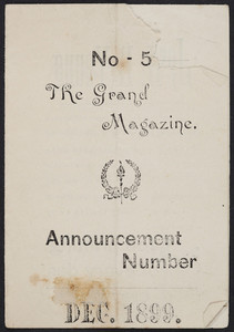 Grand magazine, no. 5, announcement number, Golden Hours Social-Camping Club, The Grand Publishing Co., 77 Kensington Heights, Meriden Connecticut, December 1899