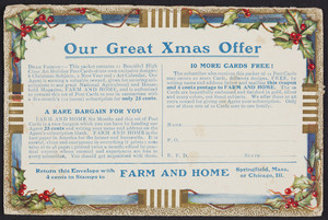 Envelope for Farm and home, Springfield, Mass. and Chicago, Illinois, undated