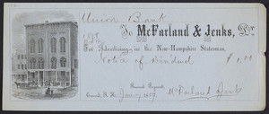 Receipt for advertising in the New-Hampshire statesman, McFarland & Jenks, Dr., Concord, New Hampshire, dated January 17, 1859