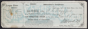 Subscriber's certificate for The christian union, J.B. Ford & Co., publishers, 27 Park Place, New York, New York, dated March 6, 1872