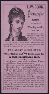 Ticket for L.W. Cook, photographic rooms, 535 Washington street, Boston, Mass., ca. 1885