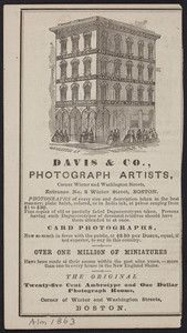 Advertisement for Davis & Co., photograph artists, corner Winter and Washington Streets, entrance No. 2 Winter Street, Boston, Mass., 1863