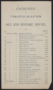 Catalogue of photographs of old and historic houses, W.B. Clarke & Co., 340 Washington Street, Boston, Mass., undated