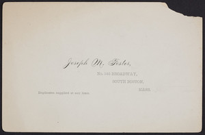 Trade card for Joseph M. Foster, photographer, No. 343 Broadway, South Boston, Mass., undated