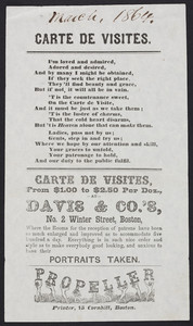 Handbill for carte de visites, Davis & Co.'s, No. 2 Winter Street, Boston, Mass., dated March 1864