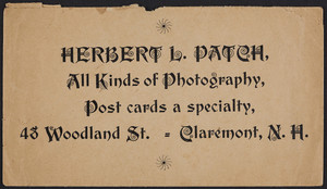 Envelope for Herbert L. Patch, photography, 48 Woodland Street, Claremont, New Hampshire, undated