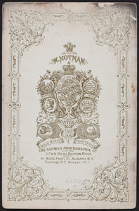 Trade card for W. Notman, photographer to Her Majesty, Montréal, Canada, 3 Park Street, Boston, Mass., undated