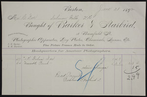 Billhead for Barker & Starbird, photographic equipment, 56 Bromfield Street, Boston, Mass., dated June 28, 1892