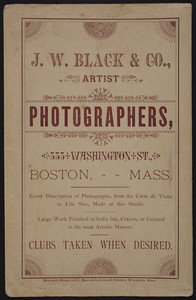 Envelope for J.W. Black & Co., artist photographers, 333 Washington Street, Boston, Mass., undated