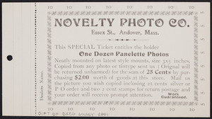 Ticket for the Novelty Photo Co., Essex Street, Andover, Mass., undated