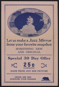 Leaflet for a Jazz Mirror, location unknown, undated