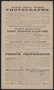 Handbill for genuine highly colored photographs, Acme Card Co., Foxboro, Mass., undated