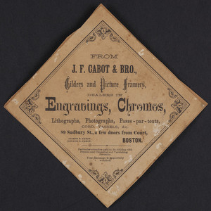 Label for J.F. Cabot & Bro., gilders and picture framers, 89 Sudbury Street, Boston, Mass., undated