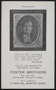 Trade card for Foster Brothers, frames, 4 Park Square, Boston, Mass., ca. 1908